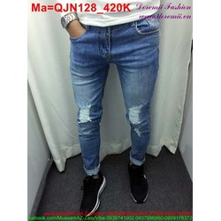 Quần jean nam màu xanh rách xước gối QJN128