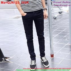 Quần jean nam màu xanh đen rách xước nhẹ QJN123