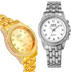 Đồng hồ nữ cao cấp có 3 hàng đá bên hông sáng rực đồng hồ-201