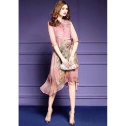 PN265 - Đầm suông hồng tà so le