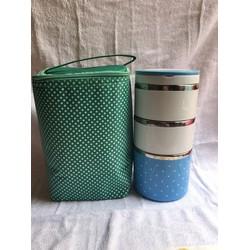 Combo hộp cơm + túi giữ nhiệt chấm bi