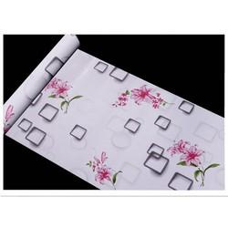 Decal giấy dán tường ô vuông hoa