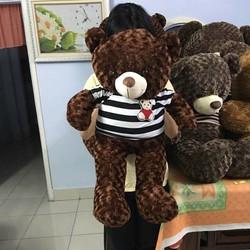Gấu bông teddy lông xoắn hoa hồng khổ 1m