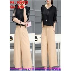 Sét áo kiểu tay ngắn lưới phối quần dài ống suông thời trang SQV323