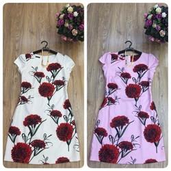 Sale Đầm suông tay con họa tiết hoa Đỏ