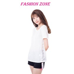 Áo tay ngắn đơn giản viền ren nhẹ nhàng style Hàn Quốc