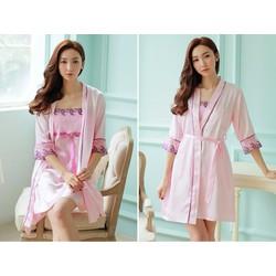 Choàng ngủ kèm váy ngủ màu hồng dễ thương TK801