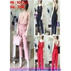 Sét áo kiểu 2 dây phối quần baggy thời trang SQV313