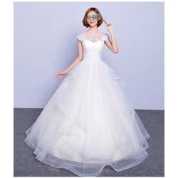 Váy cưới công chúa, tay con ren, cổ lưới đáng yêu