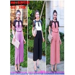 Sét áo kiểu tay con phối ren và quần dài suông thời trang SQV299