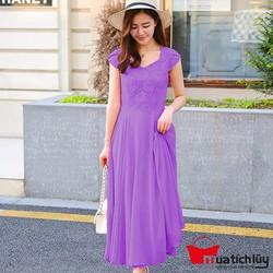 Đầm Maxi phối ren Violet