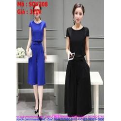 Sét áo kiểu tay con phối quần ống suông thời trang công sở SQV308