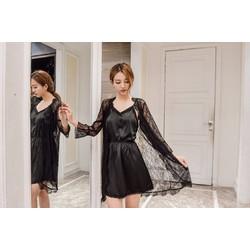 Áo choàng ngủ ren kèm váy phi lụa tk783 đen huyền bí