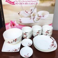 Bộ 12 tô, chén, đĩa ceramic hoa đào