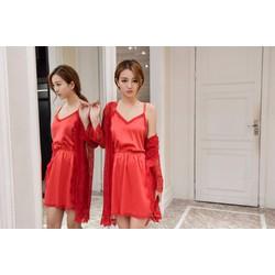 Áo choàng ren kèm váy ngủ phi lụa gợi cảm tk783