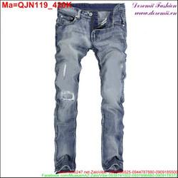 Quần jean nam màu xanh rách xước QJN119