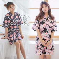 Đồ bộ ngủ phong cách kimono hoa dễ thương TK800