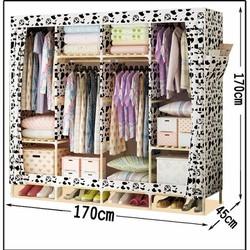 Tủ vải khung gỗ cao cấp 4 buồng cực lớn