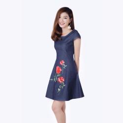 Đầm Jean Form Xòe In Hình Hoa Hồng Thời Trang Eden  - D153