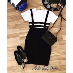 Set váy yếm áo thun _MỎ CHU SHOP