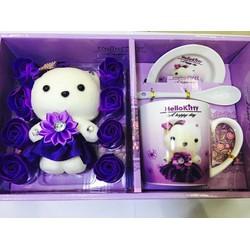 Bộ hoa sáp gấu bông tặng kèm bộ ly muỗng siêu dễ thương
