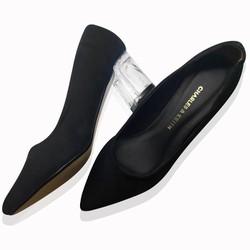 Giày gót vuông đế trong mũi nhọn da nhung