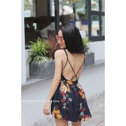 Đầm xoè hoa chéo dây lưng _MỎ CHU SHOP