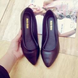 Giày búp bê đen trơn da mềm