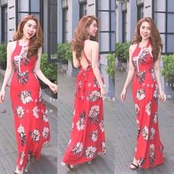 Đầm maxi voan hoa