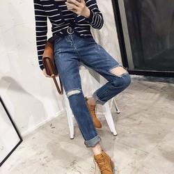 quần jeans nữ rách lỗ vuông Mã: QD1347