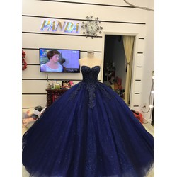 áo cưới cúp ngực xanh đen coban kim tuyến