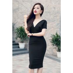 Đầm body đen sexy hở lưng 1477