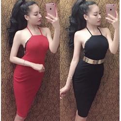 Đầm body yếm hở lưng viền ren sexy
