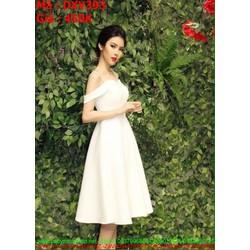 Đầm xòe dự tiệc trắng 2 dây phối bệt vai sành điêu DXV393