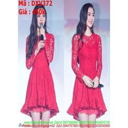 Đầm xòe dự tiệc màu đỏ sang trọng chất liệu ren mềm DXV372