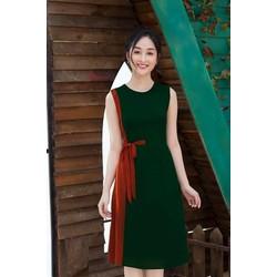 Đầm xanh rêu nơ eo sang chảnh - NR183