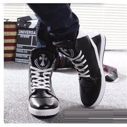 Giày nam phối trắng đen cột dây cổ cao