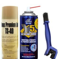 Bộ sản phẩm bôi trơn sên X5 400ml, vệ sinh sên TS-40 450ml và bàn chải vệ sinh sên 3D