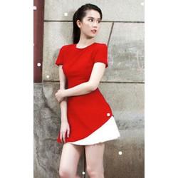 Đầm đỏ phối trắng Ngọc Trinh 853