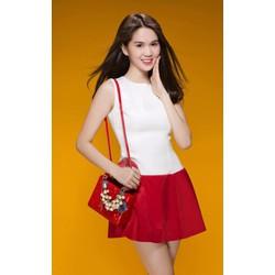 Đầm xòe đỏ trắng dễ thương Ngọc Trinh 893