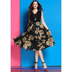 Đầm xòe cách điệu thiết kế sang trọng váy xòe hoa hồng TTCS15