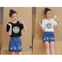 Hàng nhập-Set áo thun mặt cười và chân váy jean size M,L,XL