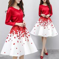 Set áo sơ mi và chân váy xoè phối màu cao cấp - hàng nhập Quảng Châu