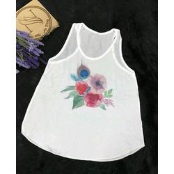 Áo tơ gân in hoa