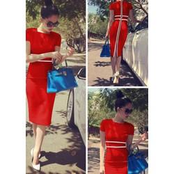 Đầm body đỏ viền trắng Ngọc Trinh 874