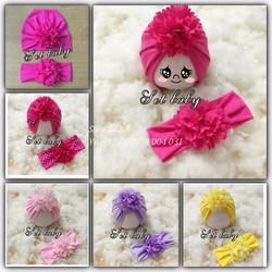 Set mũ và turban hoa cho bé