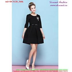 Đầm xòe công sở xếp ly form xinh dáng đẹp uDCS120