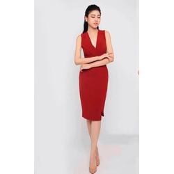Đầm body đỏ cổ chữ V giả vest 1570