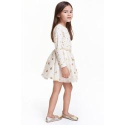 Chân váy kim tuyến trắng chấm tim bé gái - hàng nhập Mỹ