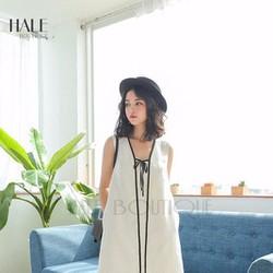 Đầm suông trắng cột nơ